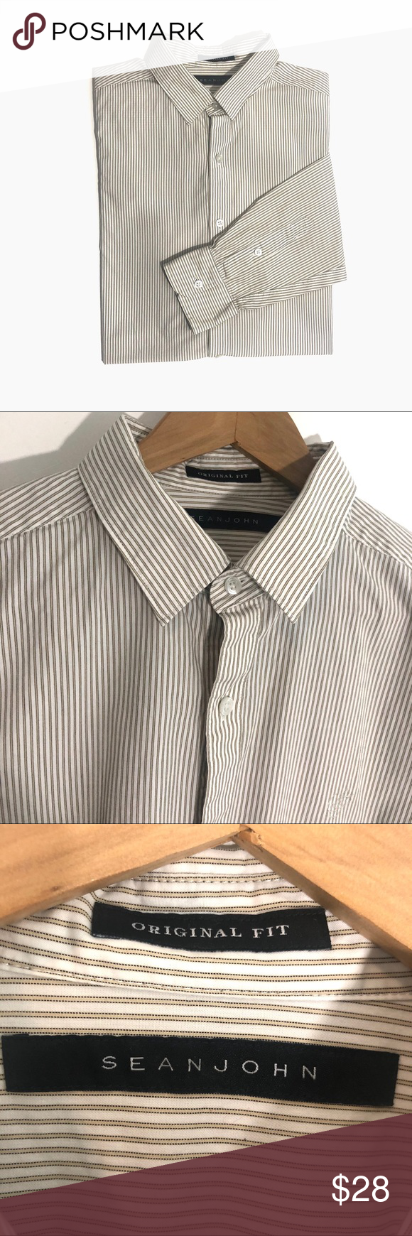 Sean John Original Fit Large Striped Dress Shirt Monogram Dress Shirt Shirt Dress Monogrammed Dress [ 1740 x 580 Pixel ]