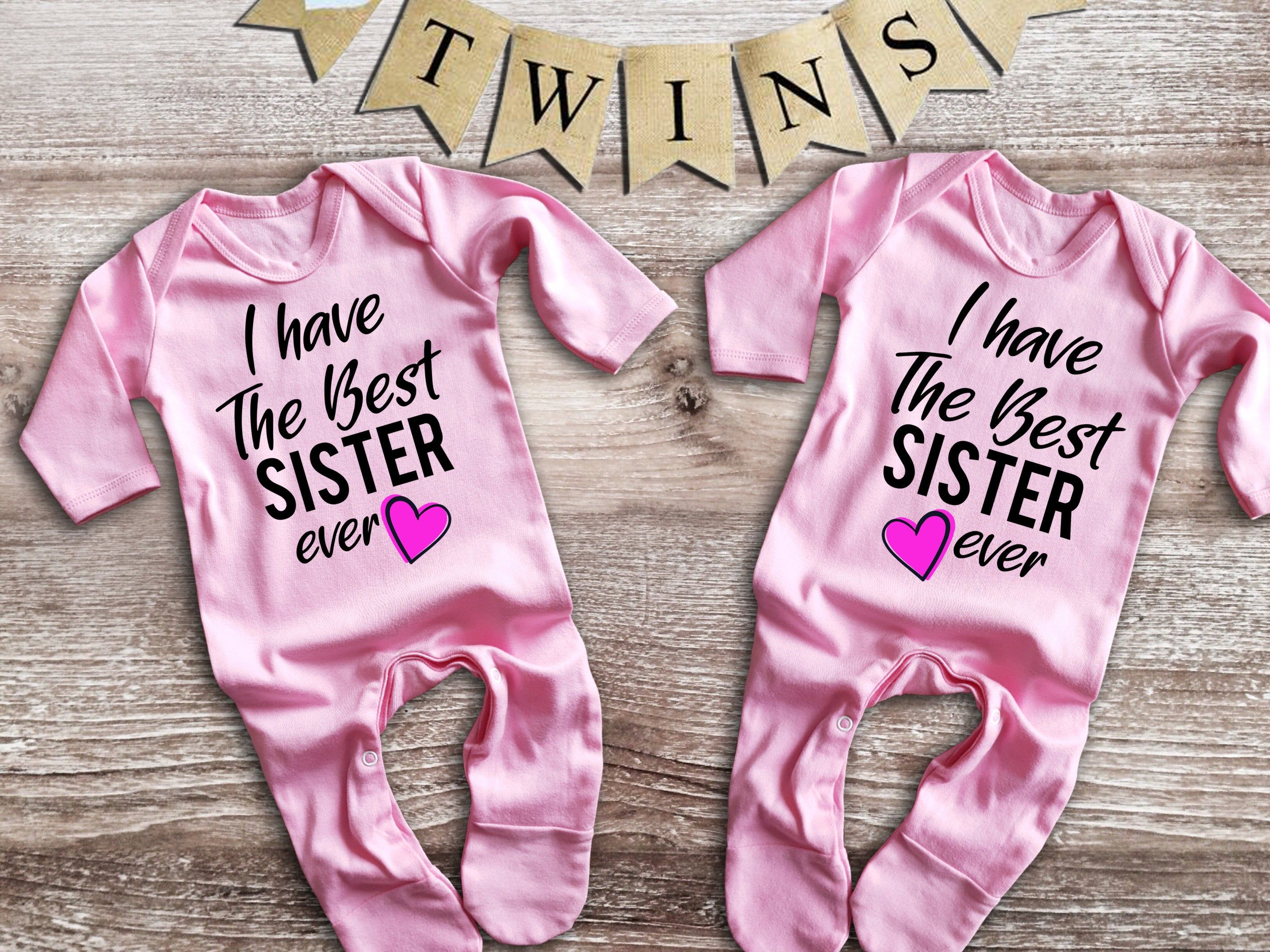 I have the best Sister Twin rompersuit Set For twin girls bodysuits babygrows