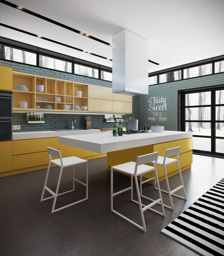 image result for white painted brick kitchen