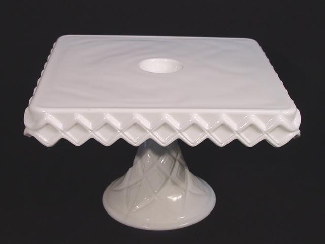 Antique Square Milk Glass Cake Stand Pedestal Plate & Antique Square Milk Glass Cake Stand Pedestal Plate | Cake Plates ...