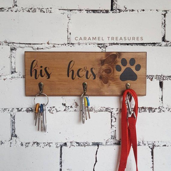 Wedding Gifts For Dog Lovers: Rustic Wooden Wall Key Holder, Wooden Key And Lead Holder