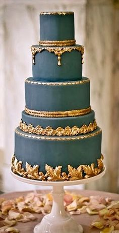 Dark Gray Blue Wedding Cake With Gold Trim Don T Like The Grey But Resembles Plaster Stuck Work On A Ceiling If Placed White Fondant