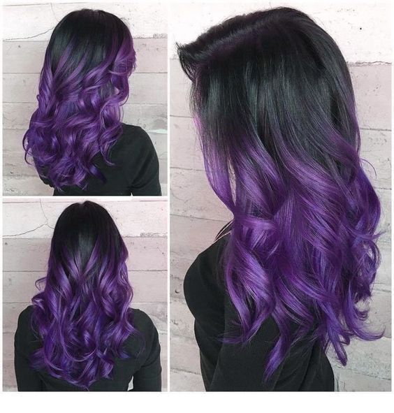 Black Hair And Purple Curls Warna Rambut Ombre Rambut Warna Warni Warna Rambut