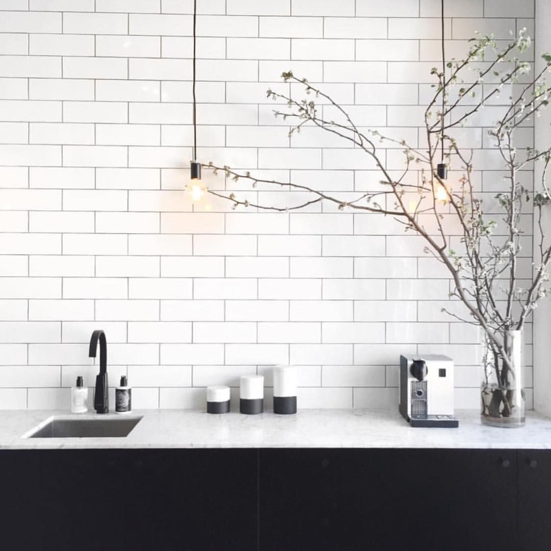 black subway tile kitchen short curtains simple yet stunning tiles tapware and