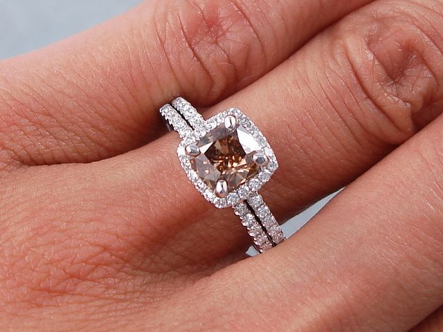 a crisp 140 ctw cushion cut diamond engagement ring and wedding band set the center diamond is a 108 ct cushion cut diamond fancy chocolate color and vs2 - Chocolate Diamond Wedding Ring Sets