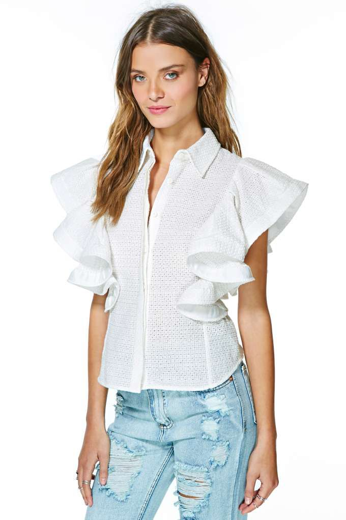 XS-S-M-L Black White Polyester Shirt Top Blouse Open Front Closure w//Long Sleeve