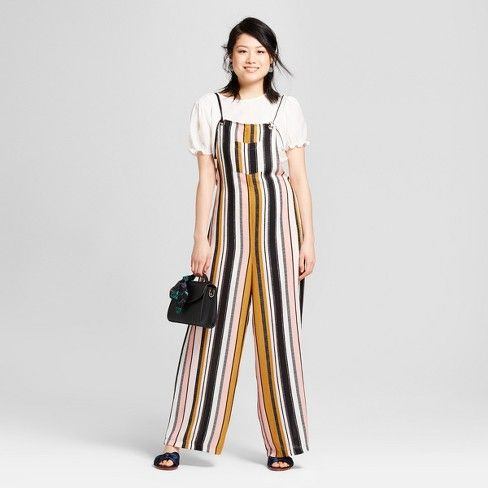 c64a4132e16 Women s Striped Overall Jumpsuit - Xhilaration™   Target
