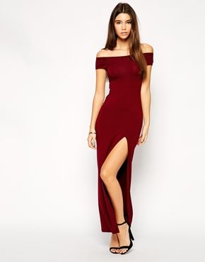 Image 4 Of Asos Petite Exclusive Bardot Body Conscious Maxi Dress With Thigh Split Red Dress Maxi Colorful Dresses Bodycon Maxi Dresses