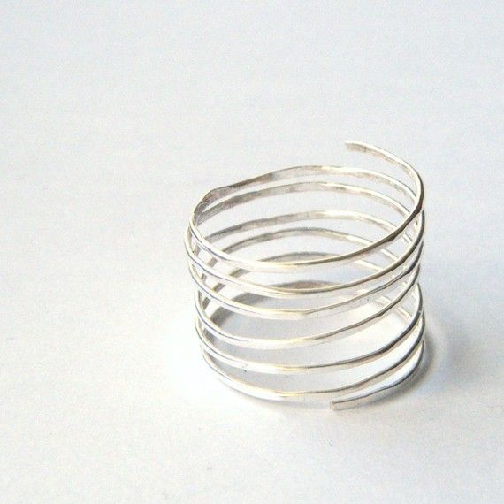 Silver Wire Spiral Ring - Thumb Ring, Infinity Ring, Minimalist ...