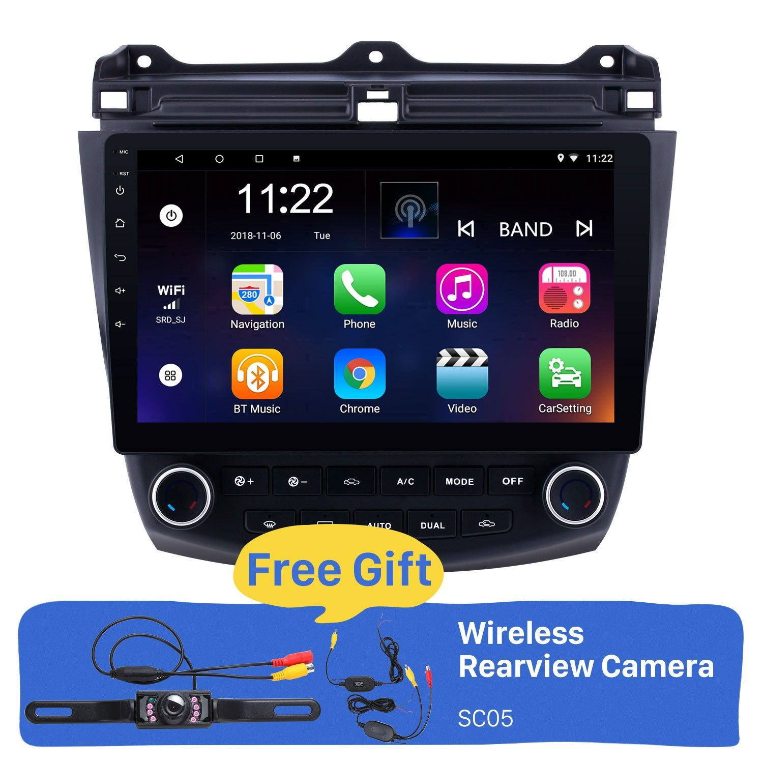 Seicane 10.1 inch Android 8.1 HD 1024*600 Touch Screen Car