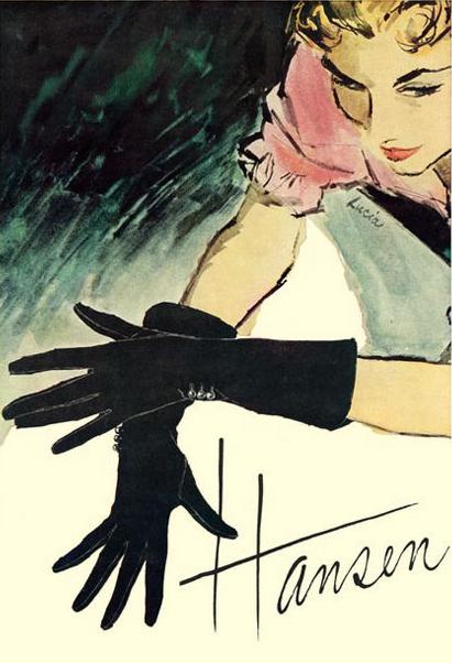 Illustration by Lucia, 1950s, Hansen Gloves ad.