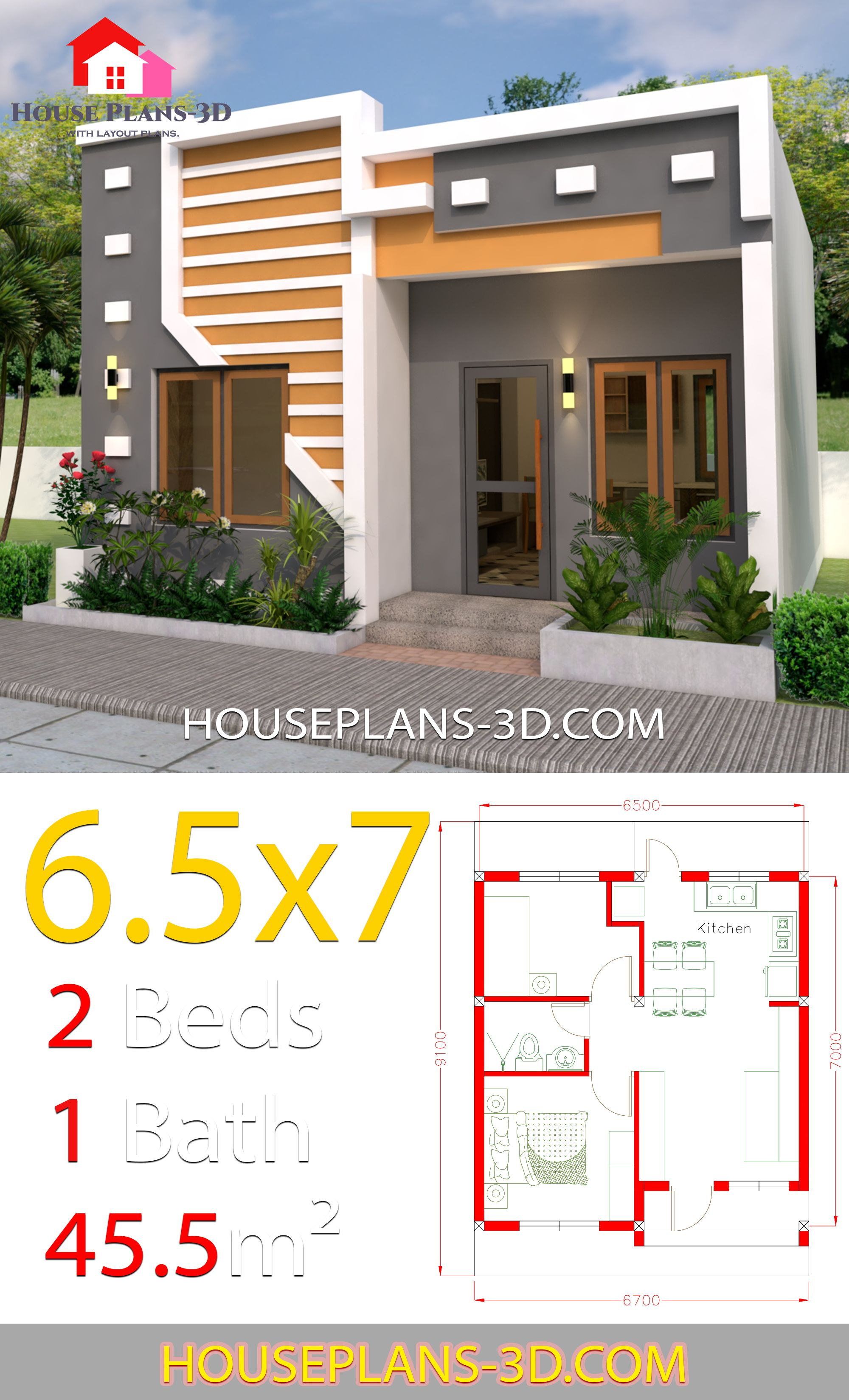 Small House Design 6 5x7 With 2 Bedrooms Full Plans House Plans 3d Small House Design Plans Small House Design House Fence Design