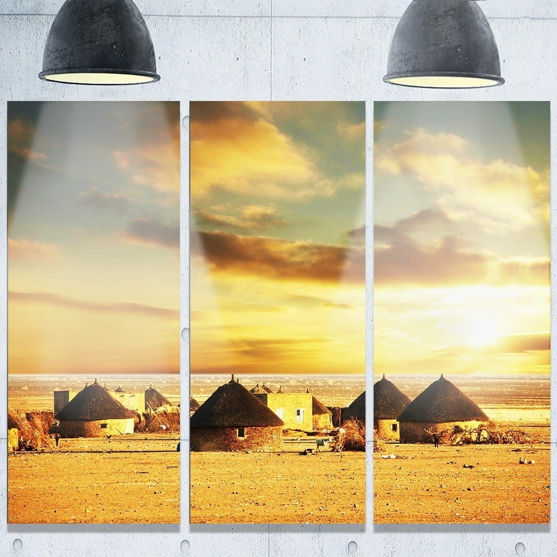 Designart \'Beautiful African Village Huts\' Extra African Landscape ...