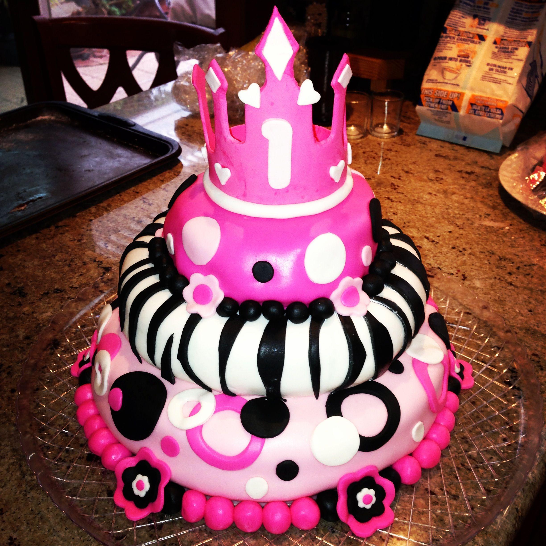 1st Birthday 3 Tier Fondant Cake For My Baby Girl Fondant Cakes