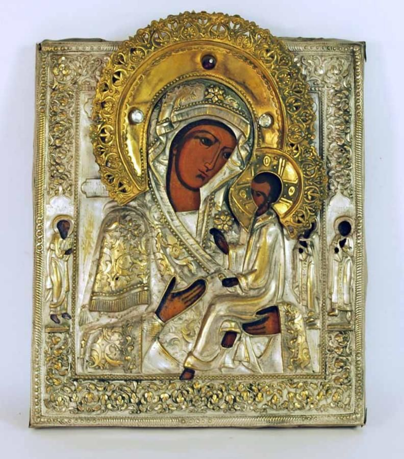 Religious: Russian Icon With Jewelled Rizza