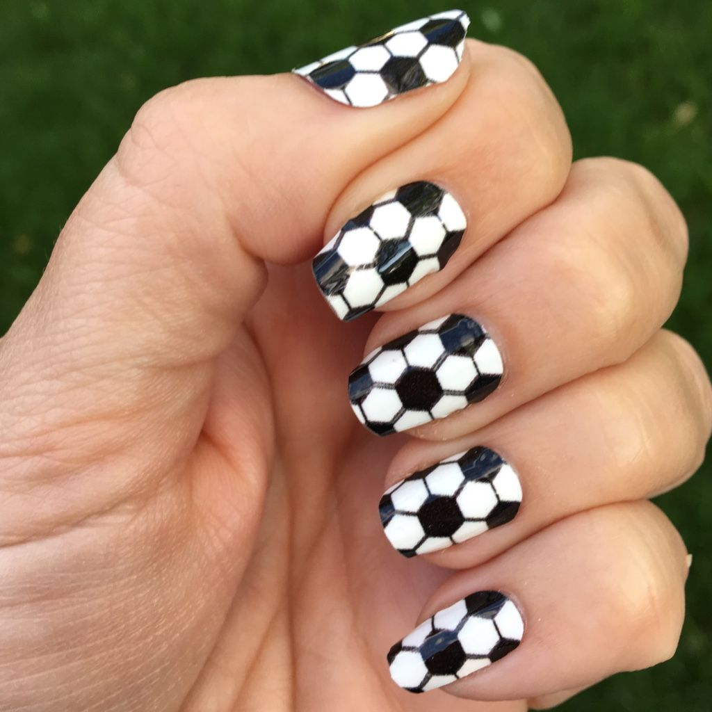 Soccer Nail Wraps | Black & White Hexagons | Sports nail art, Soccer ...