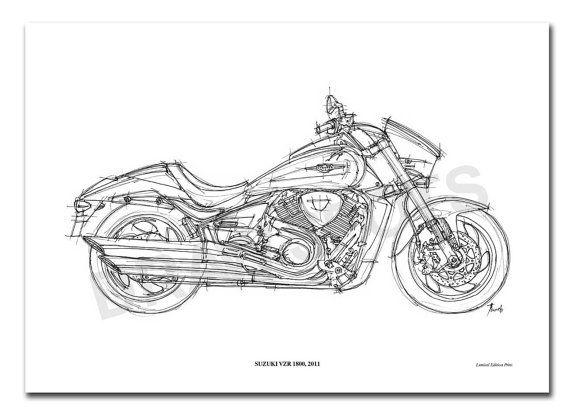 suzuki vzr 1800 2011 original handmade drawing print by drawspots   42 00  custom  suzuki