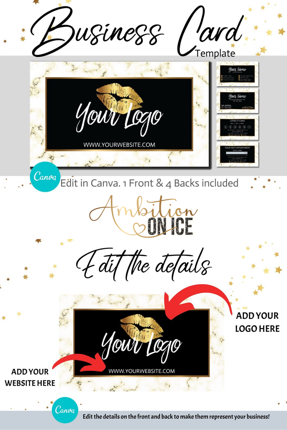 Diy Gold Marble Business Cards Canva Template Gold Business Card Design Appointment Card And Loyalty Card Instant Download Unique Business Cards Business Card Design Gold Business Card