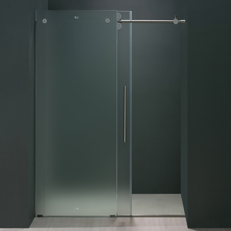 Vigo 60 Inch Frameless Frosted Glass Sliding Shower Door Right