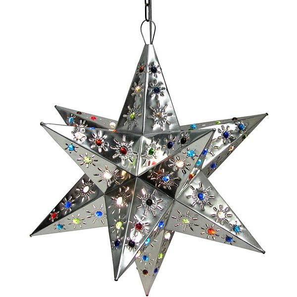 Mexican Tin Lighting Collection Tonala Star W Marbles Natural Finish Lamc08n