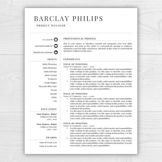 Page Professional Resume Template For Microsoft Word  Mac Pages