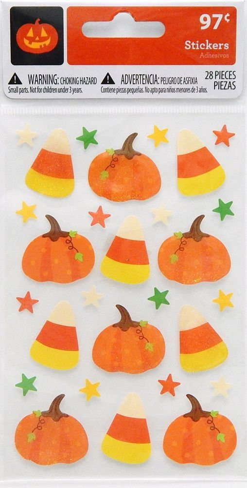 28 Count Halloween Thanksgiving Stickers Pumpkin Candy Corn Glittery ages 3+ NIP #Unknown #Glitter