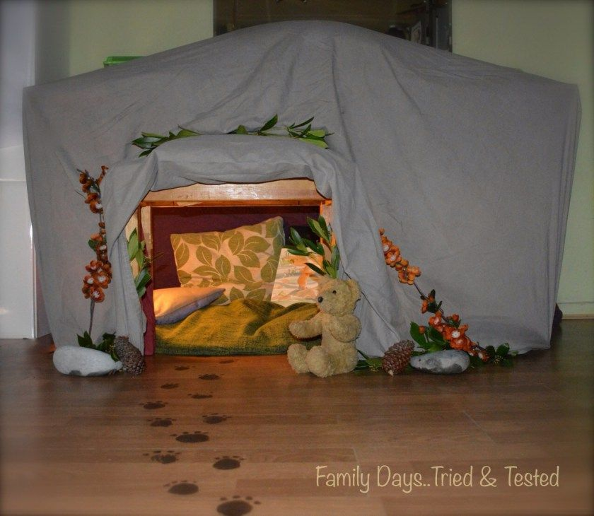 Building an under table bear lair den for kids with