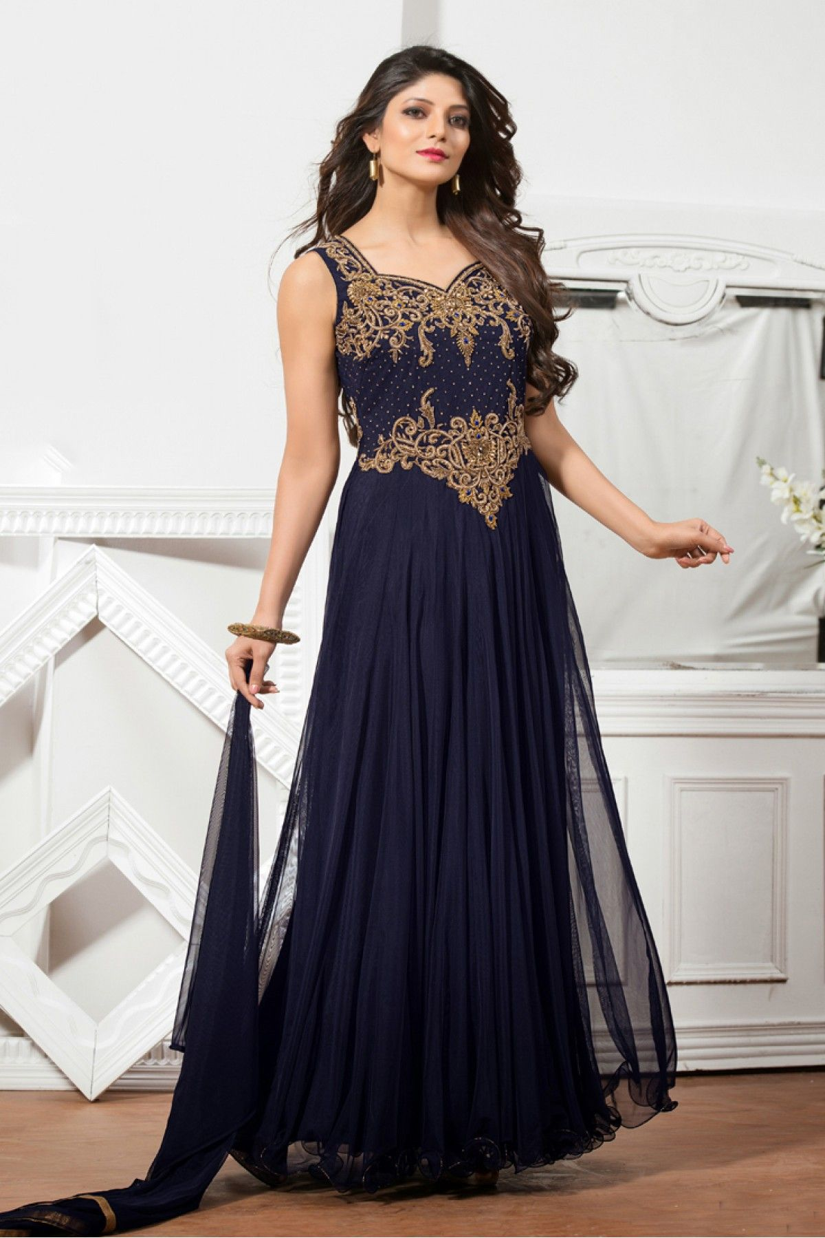a77693e2c Navy Blue Colour Net Fabric Designer Semi Stitched Gown Comes With Matching  Dupatta. This Gown Is Crafted With Diamond Work