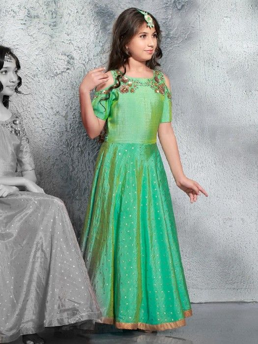 Shop Party wear classy green gown online from G3fashion India. Brand ...