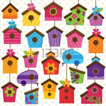 buhos en ramas vector conjunto de casas lindas y coloridas aves