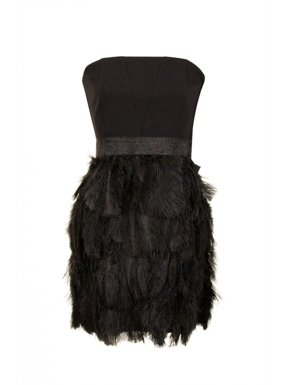 Naf Naf Nouvelle Co H15 Robe A Plumes Noir 1