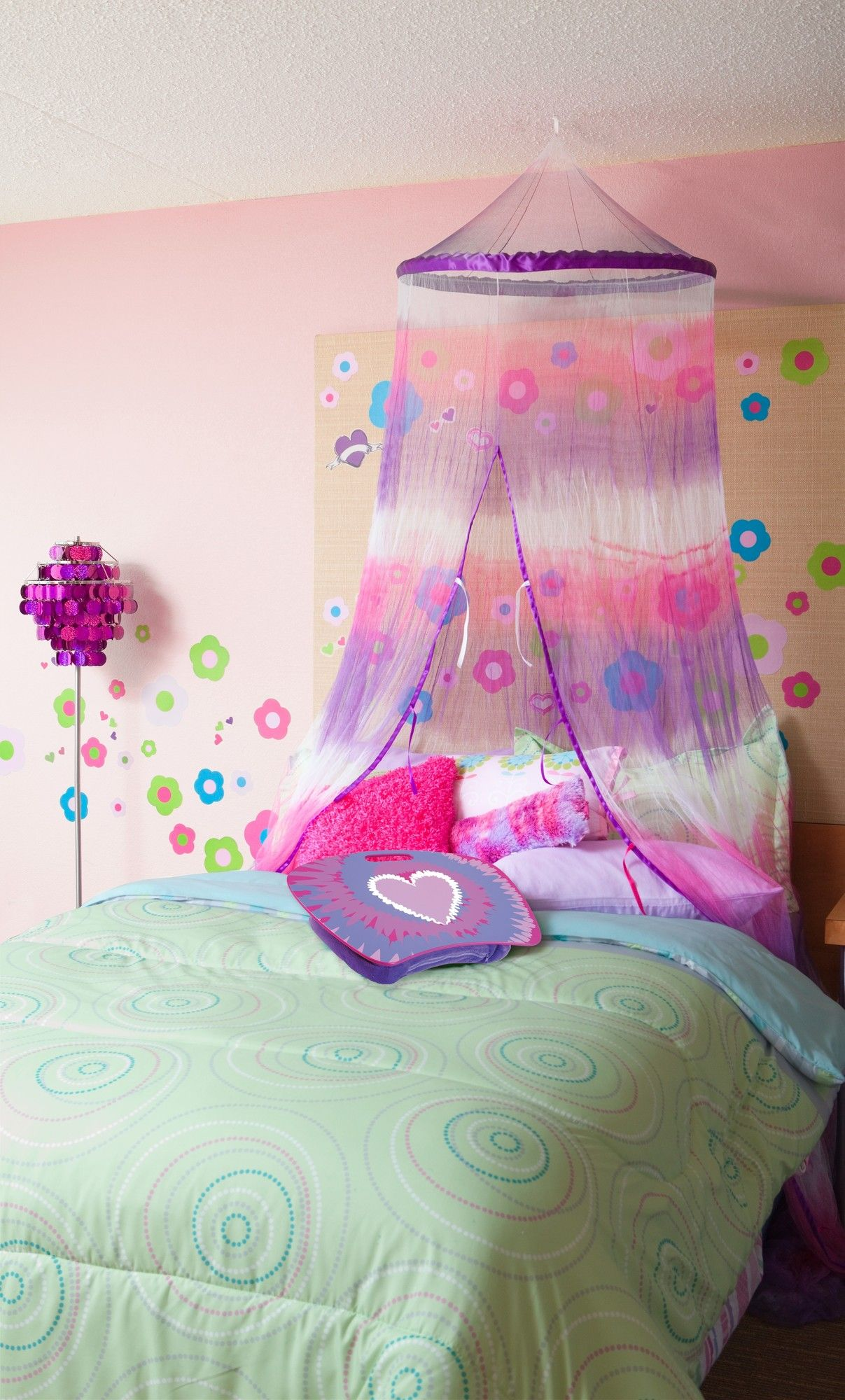 purple and pink tie dye bed canopy for girls - purple bedroom