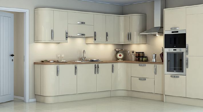 The magnet studio cr me kitchen range this stunning gloss for Contemporary fitted kitchens