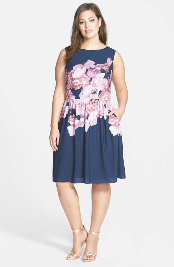 Floral Print Chiffon Fit & Flare Dress (Plus Size)