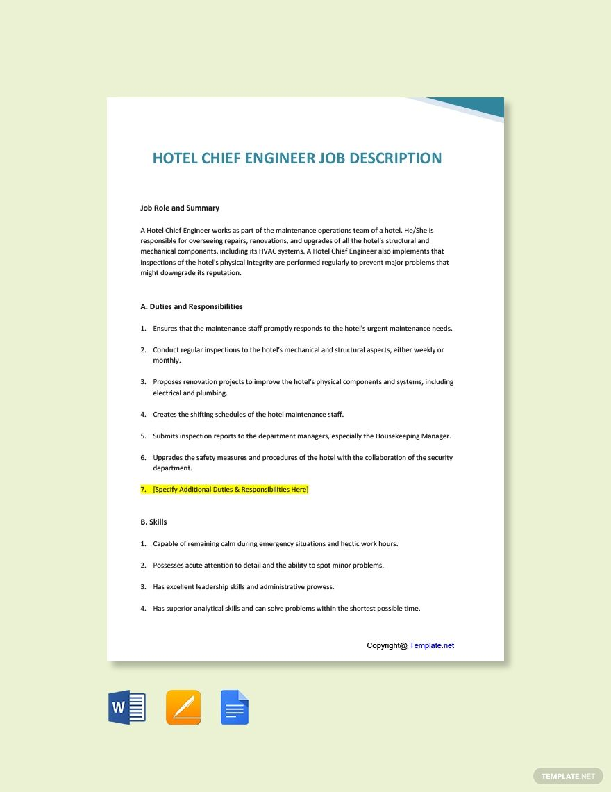 Free Hotel Chief Engineer Job Description Template in 2020
