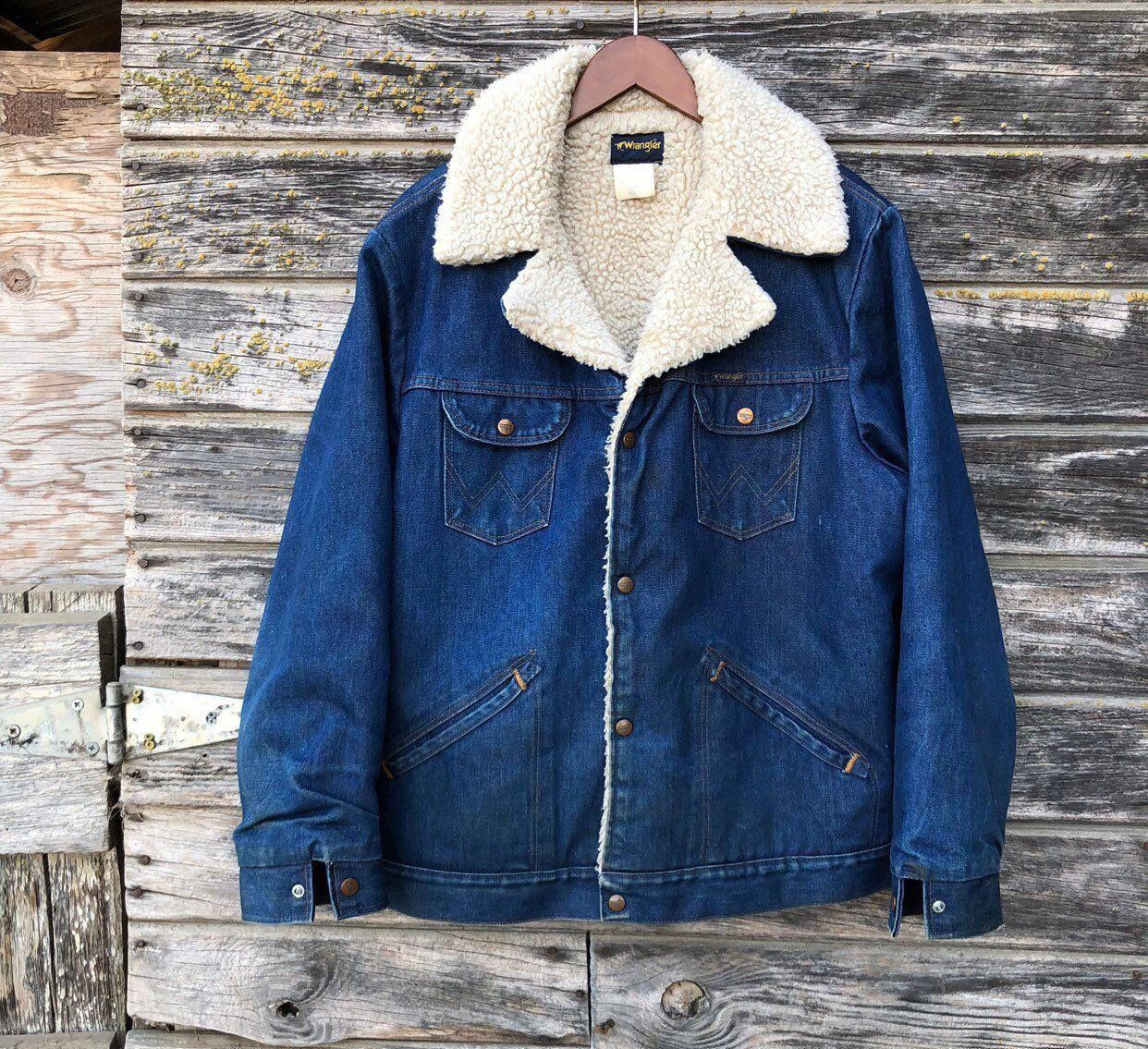 70s Vintage Wrangler Denim Jacket Sherpa Lined 1970s Western Dark Denim Jean Jacket Heavy Warm Coat Grunge Distressed Vtg M Denim Jacket Denim Fashion Jackets [ 1135 x 1242 Pixel ]