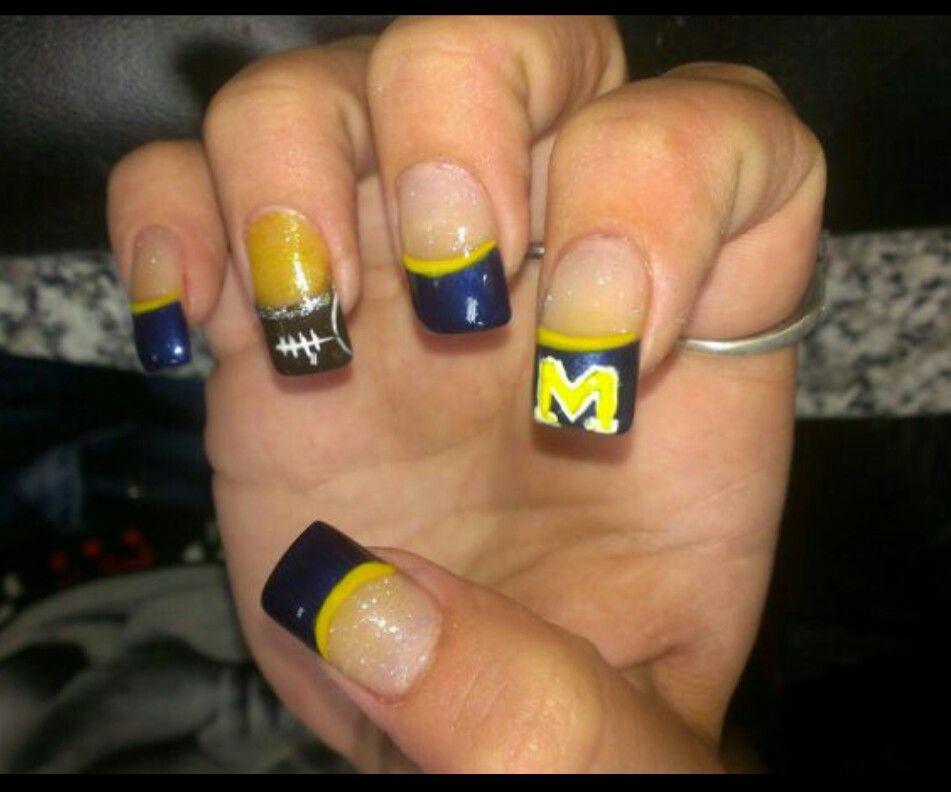 Michigan nails   My nail art   Pinterest   Nail nail and Makeup