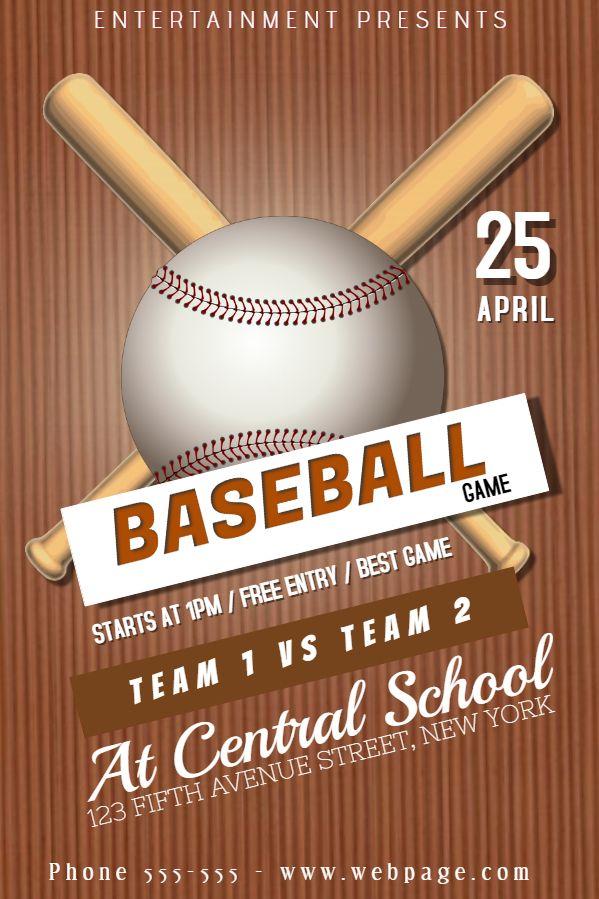 baseball league poster flyer design click to customize baseball