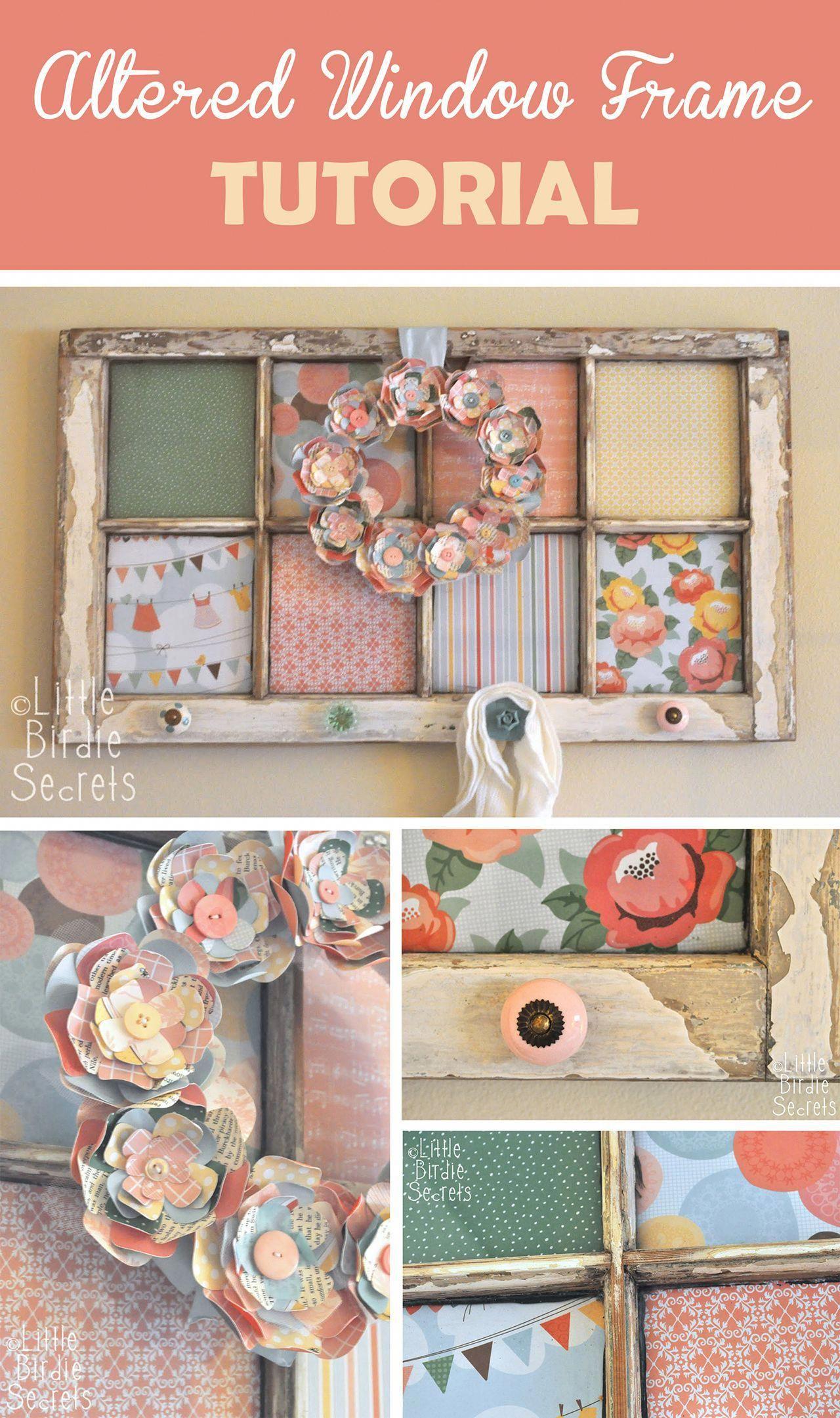 Antique Fabric Flower Window Frame #Shabbychicdecor