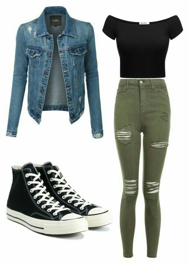 -schwarzes schulterfreies Top -armgrüne Jeans mit Riss -schwarzes High-Top-Conv…