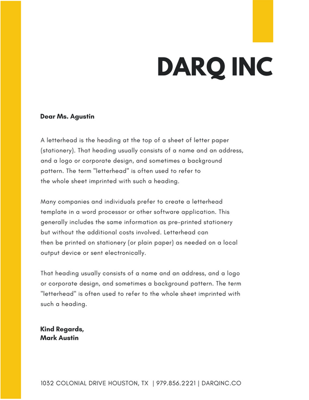 yellow simple company letterhead stock illustration canva