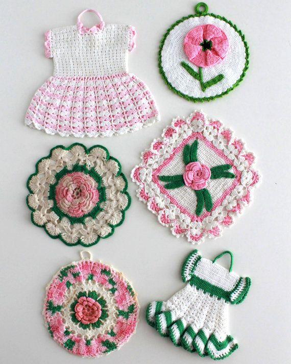 Vintage Pink Floral Potholder Crochet Patterns PDF | COCINA ...
