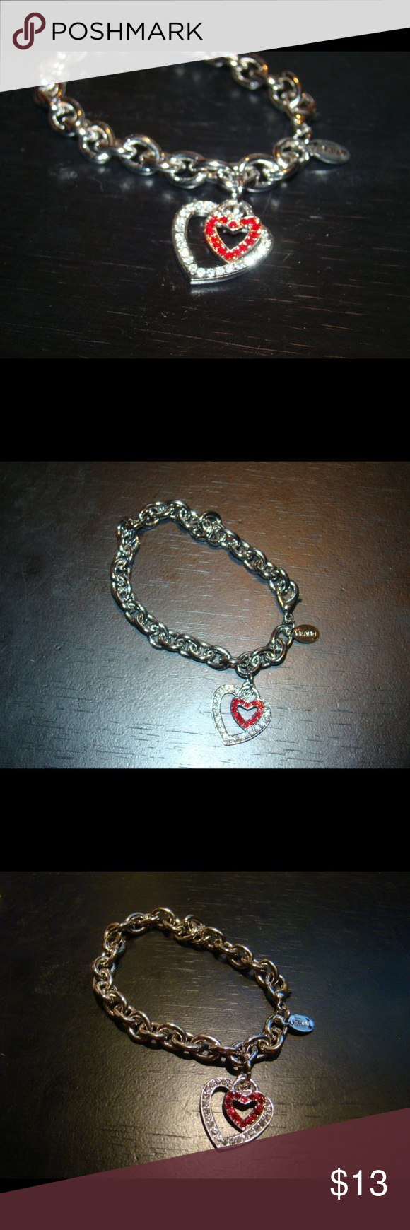 "Double Heart Bracelet This fits small wrists. I wear a 7"" bracelet and this is snug on me. Great for a young girl or thin wrist. Cookie Lee Jewelry Bracelets"