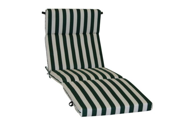 Outdoor Patio Cushions For A Chaise Lounge In Green And White Stripes