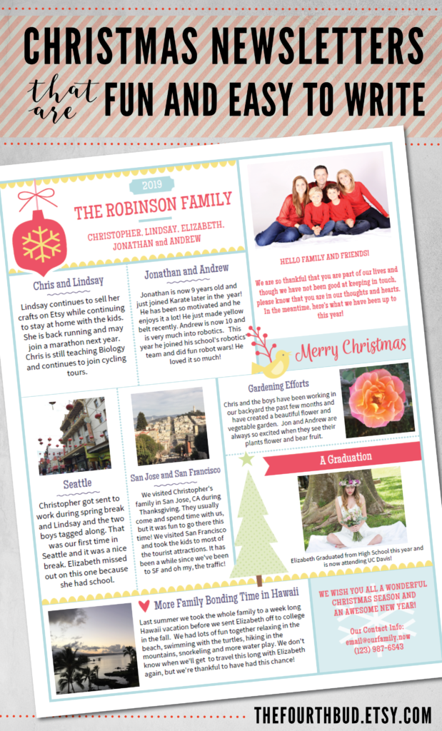 Year In Review Christmas Letter Christmas Newsletter Template In