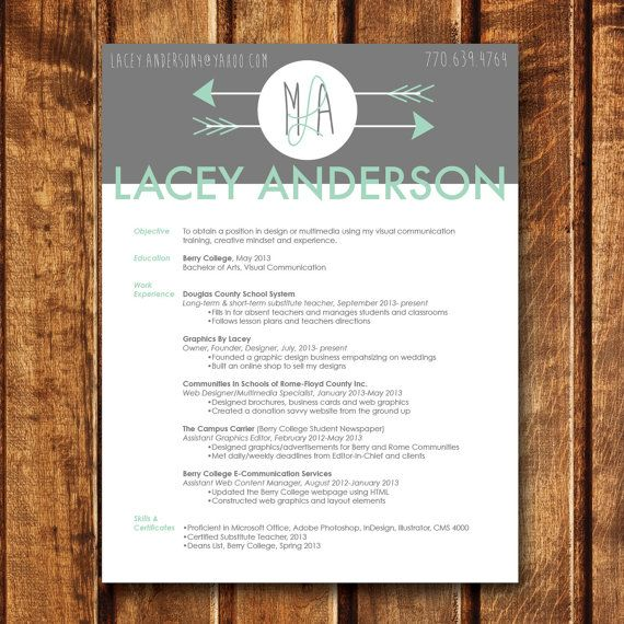 Custom Arrow Heading Resume 85x11 by GraphicsByLacey on Etsy