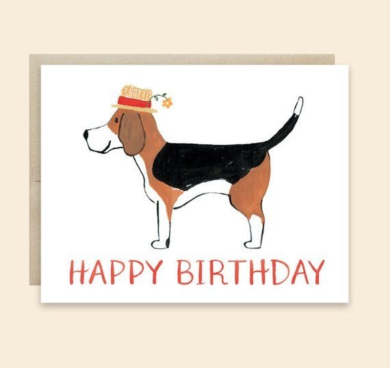 Dog Birthday Card Happy Beagle Lover Cute B