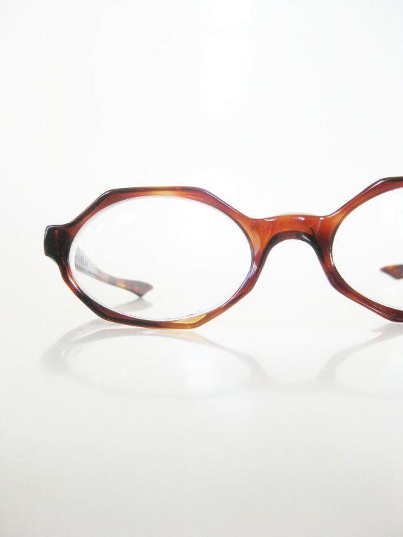 89e9409be3 Vintage 1960s Hexagon Eyeglasses Octagon Glasses Womens Geek Chic Nerdy  Frames Ladies 60s Mid Century Modern France French Tortoiseshell
