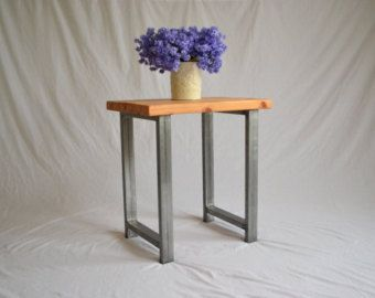 Reclaimed Wood Industrial End Table by GirlyBuilds on Etsy