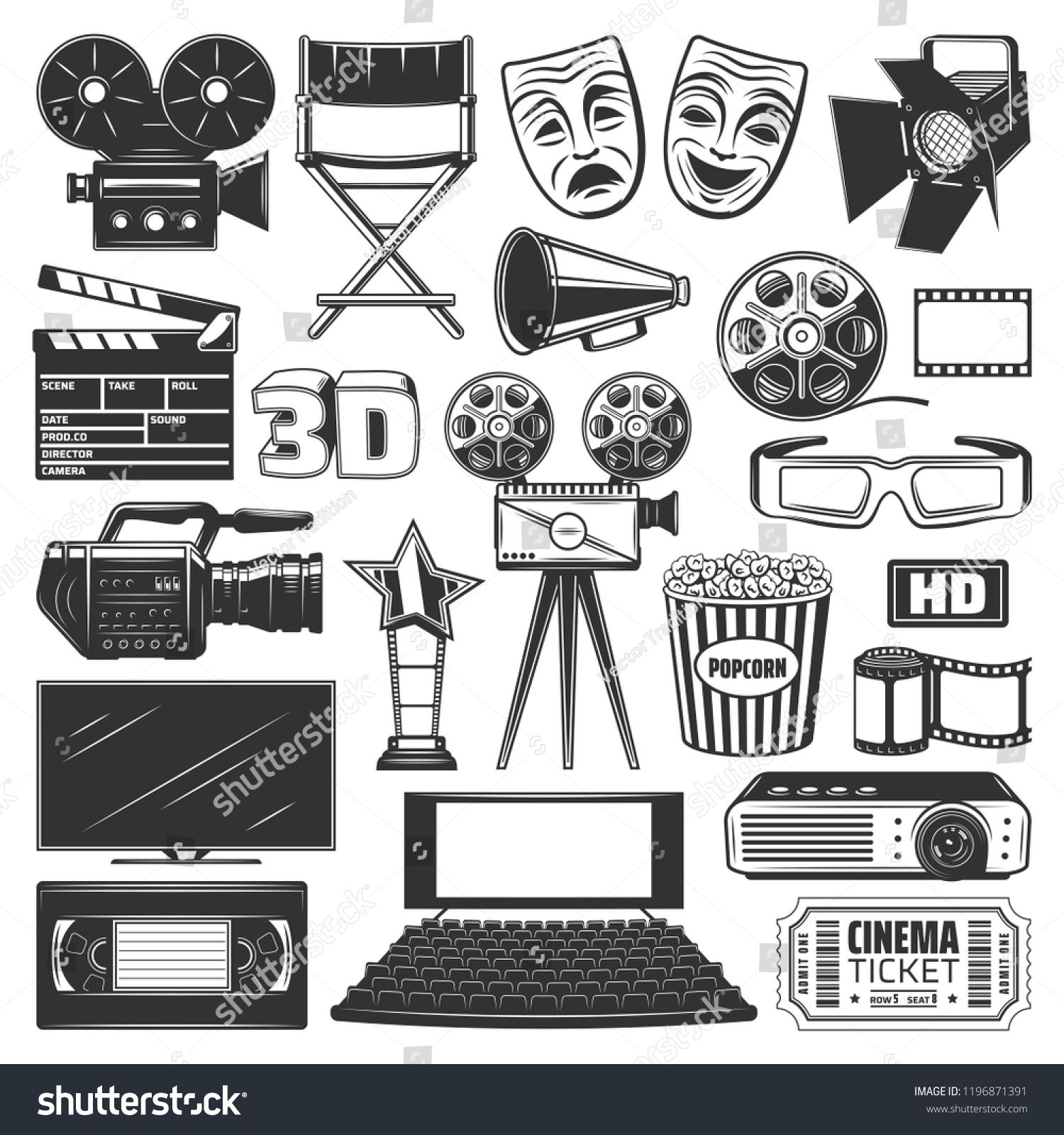 Cinema Or Movie Production Devices And Equipment Icons And Signs Camera And Directors Chair Projector And Clapperboard Film Cinema Cinema Ticket Film Reels